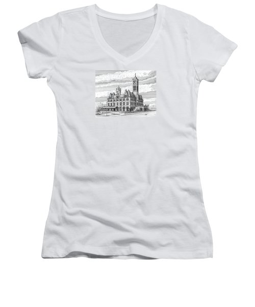 Women's V-Neck T-Shirt (Junior Cut) featuring the drawing Union Station In Nashville Tn by Janet King
