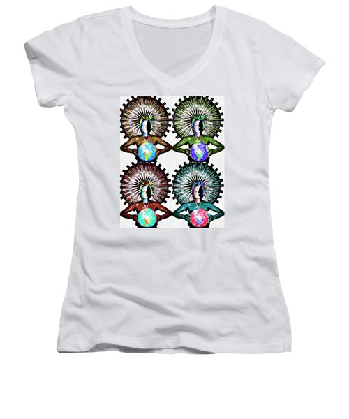 Unity-love-peace In This World Women's V-Neck