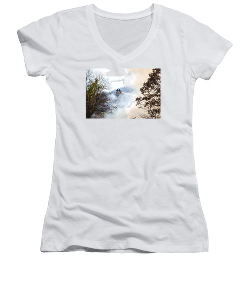 Up In Smoke Women's V-Neck T-Shirt (Junior Cut) by Eric Liller