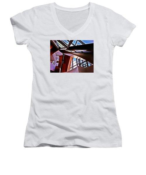 Urban Abstraction Women's V-Neck T-Shirt (Junior Cut) by Mark David Gerson