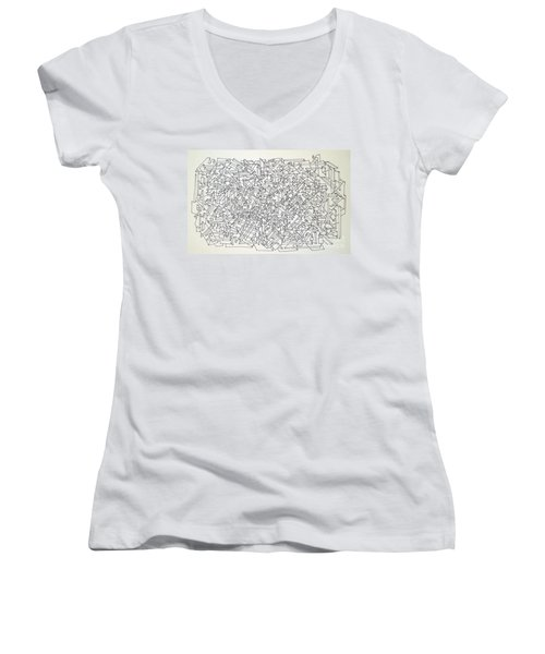 Women's V-Neck T-Shirt (Junior Cut) featuring the drawing Urban Planning by Nancy Kane Chapman