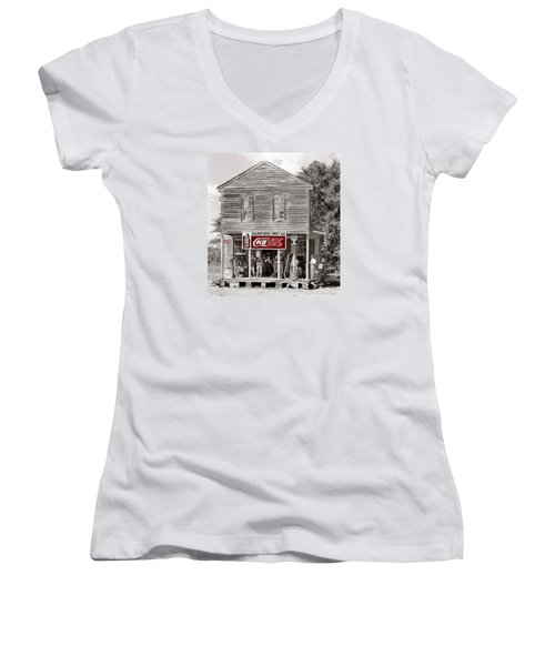 U.s. Post Office General Store Coca-cola Signs Sprott  Alabama Walker Evans Photo C.1935-2014. Women's V-Neck T-Shirt (Junior Cut) by David Lee Guss