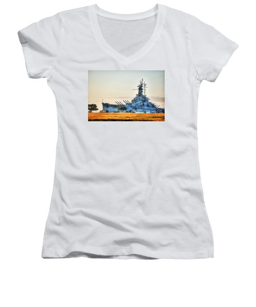 Uss Alabama Women's V-Neck T-Shirt (Junior Cut)
