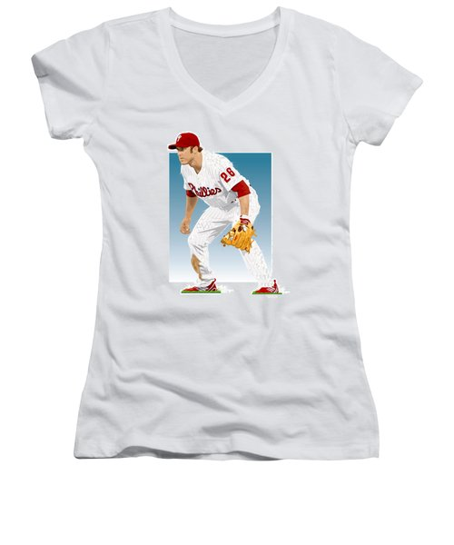 Utley In The Ready Women's V-Neck T-Shirt (Junior Cut) by Scott Weigner