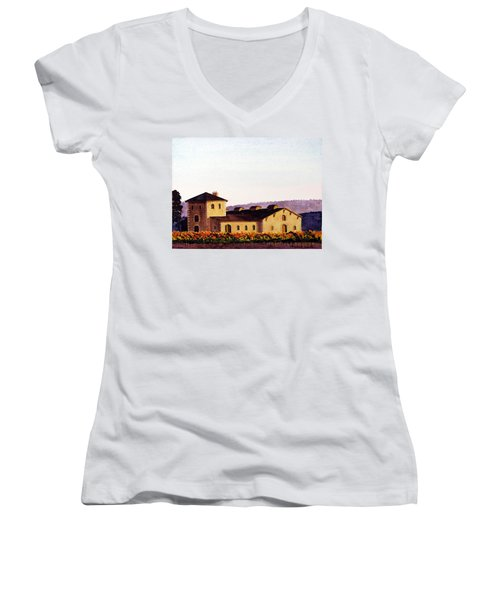 V. Sattui Winery Women's V-Neck T-Shirt (Junior Cut) by Mike Robles