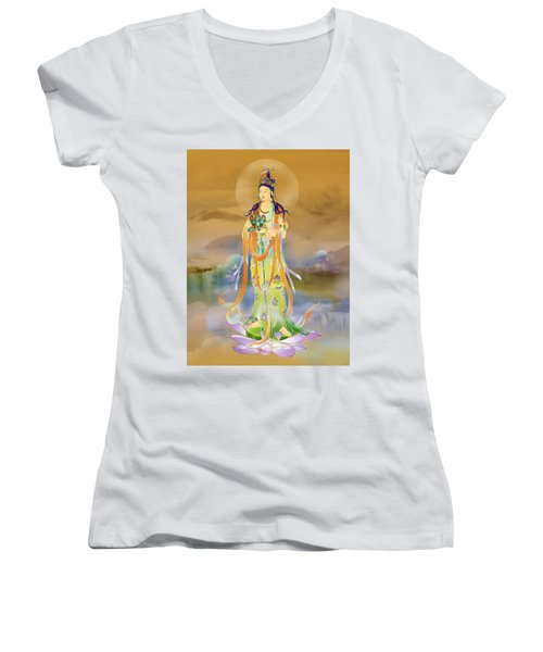 Vaidurya  Kuan Yin Women's V-Neck T-Shirt (Junior Cut) by Lanjee Chee