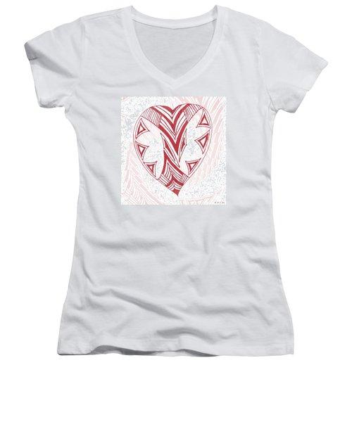 Valentine Heart Women's V-Neck T-Shirt (Junior Cut) by Amanda Holmes Tzafrir