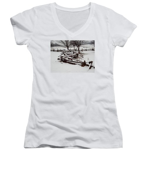 Women's V-Neck T-Shirt (Junior Cut) featuring the photograph Valley Forge Snow by Michael Porchik