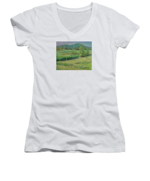 Valley Ranch Rural Western Landscape Painting Oregon Art  Women's V-Neck T-Shirt