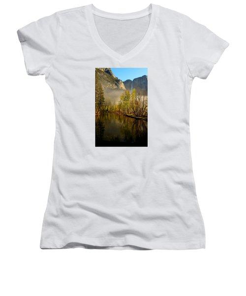 Women's V-Neck T-Shirt (Junior Cut) featuring the photograph Vanishing Mist by Duncan Selby