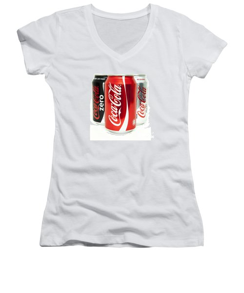 Various Coke Cola Cans Women's V-Neck T-Shirt (Junior Cut) by Antony McAulay