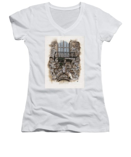 Venetian Balcony 02 Elena Yakubovich Women's V-Neck T-Shirt (Junior Cut) by Elena Yakubovich