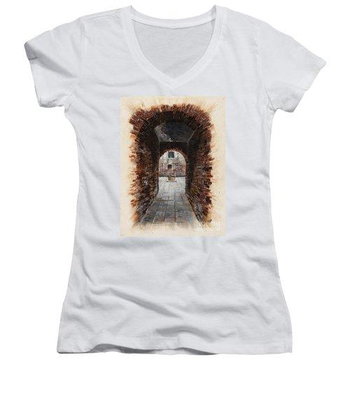 Women's V-Neck T-Shirt (Junior Cut) featuring the painting Venetian Courtyard 01 Elena Yakubovich by Elena Yakubovich