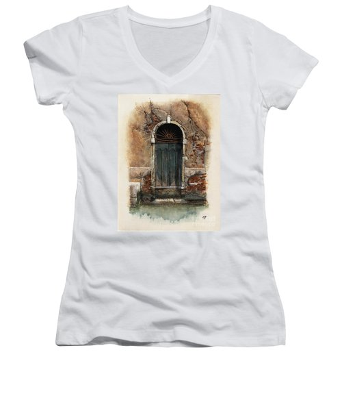 Venetian Door 01 Elena Yakubovich Women's V-Neck T-Shirt (Junior Cut) by Elena Yakubovich