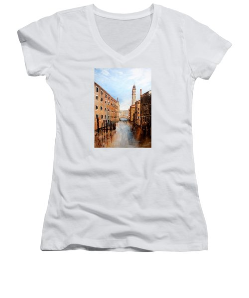 Women's V-Neck T-Shirt (Junior Cut) featuring the painting Venice Italy by Jean Walker