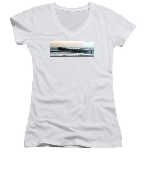 Women's V-Neck T-Shirt (Junior Cut) featuring the photograph Ventura Storm Pier by Henrik Lehnerer