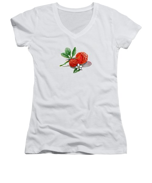 Artz Vitamins A Very Happy Raspberry Women's V-Neck T-Shirt (Junior Cut) by Irina Sztukowski