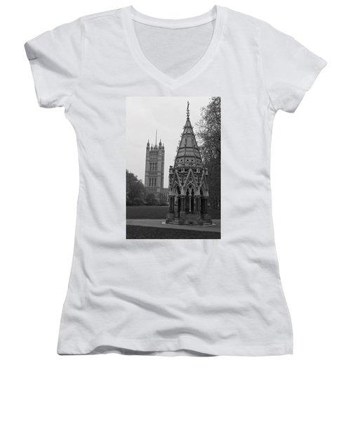 Women's V-Neck T-Shirt (Junior Cut) featuring the photograph Victoria Tower Garden by Maj Seda