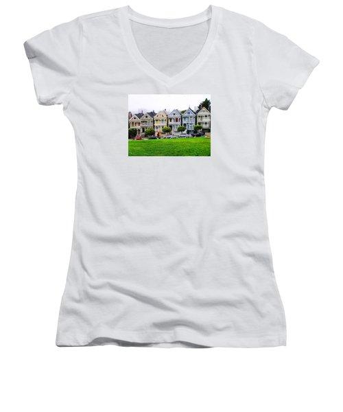 San Francisco Architecture Women's V-Neck T-Shirt (Junior Cut) by Oleg Zavarzin