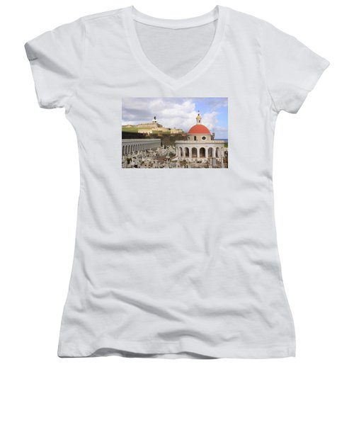 Women's V-Neck T-Shirt (Junior Cut) featuring the photograph Viejo San Juan by Daniel Sheldon