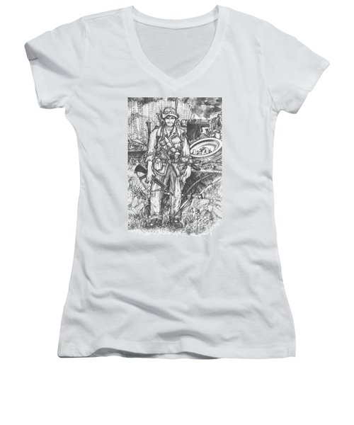 Vietnam Soldier Women's V-Neck T-Shirt (Junior Cut) by Scott and Dixie Wiley