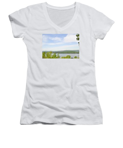 View Of The Mountains Of Alabama Women's V-Neck T-Shirt (Junior Cut) by Verana Stark