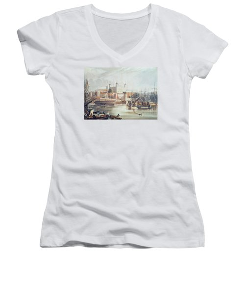 View Of The Tower Of London Women's V-Neck T-Shirt (Junior Cut) by John Gendall