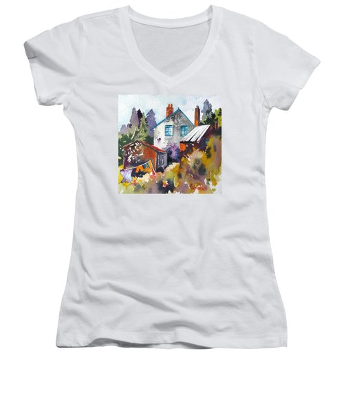 Women's V-Neck T-Shirt (Junior Cut) featuring the painting Village Life 1 by Rae Andrews