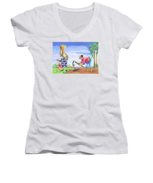 Women's V-Neck T-Shirt (Junior Cut) featuring the painting Village Life In Cameroon 01 by Emmanuel Baliyanga