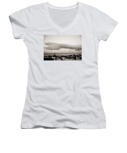 Village Rooftops At Sunrise Women's V-Neck (Athletic Fit)