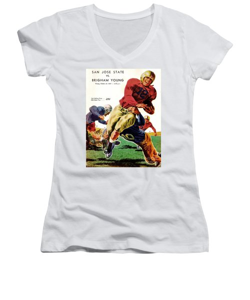 Vintage American Football Poster Women's V-Neck (Athletic Fit)