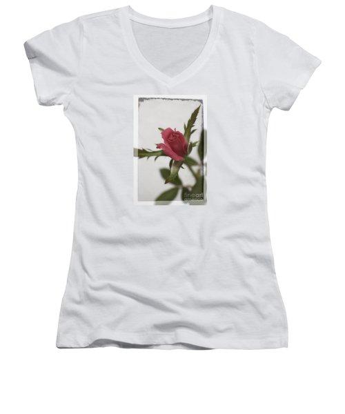 Vintage Antique Rose Women's V-Neck T-Shirt (Junior Cut)