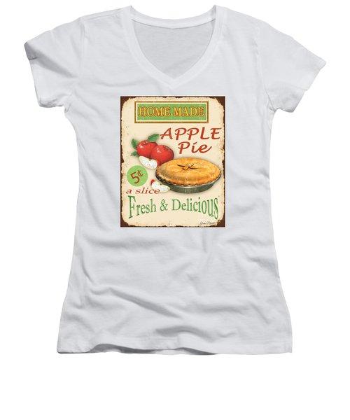 Vintage Apple Pie Sign Women's V-Neck T-Shirt (Junior Cut) by Jean Plout