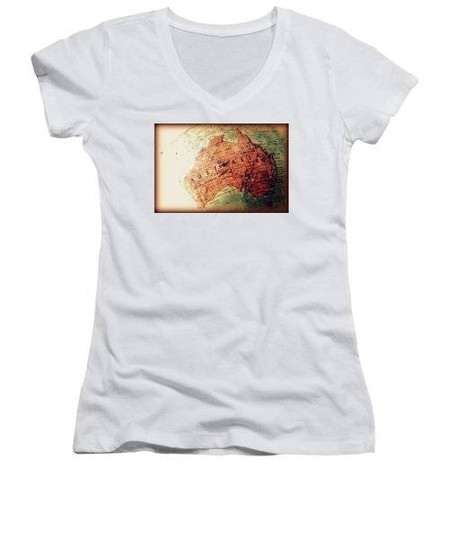 Women's V-Neck T-Shirt (Junior Cut) featuring the photograph Vintage Australia by Faith Williams