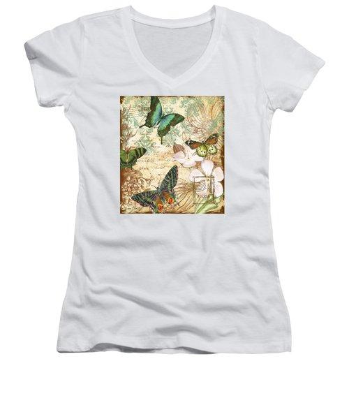 Vintage Butterfly Kisses  Women's V-Neck T-Shirt (Junior Cut) by Jean Plout