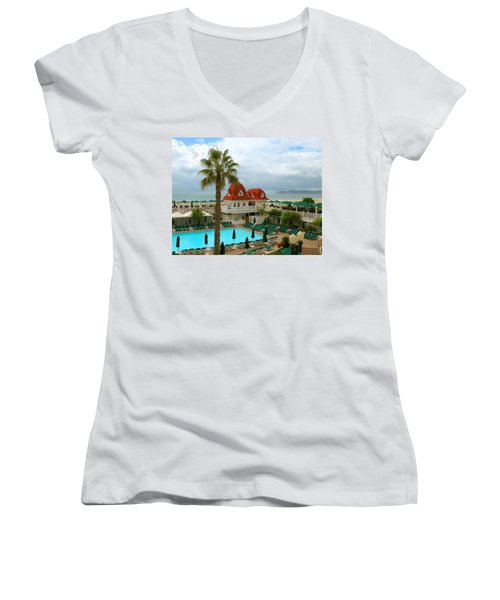 Vintage Cabana At The Del Women's V-Neck T-Shirt (Junior Cut) by Connie Fox