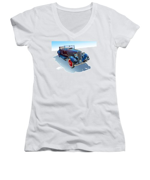 Women's V-Neck T-Shirt (Junior Cut) featuring the photograph Vintage Convertible by Gianfranco Weiss