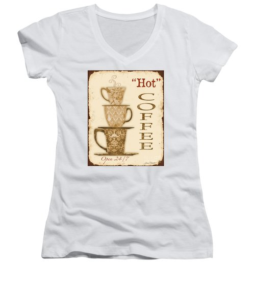 Vintage Hot Coffee Sign Women's V-Neck T-Shirt (Junior Cut) by Jean Plout