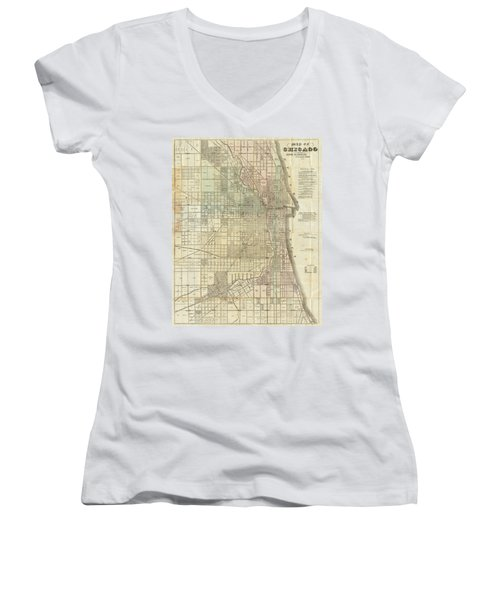Vintage Map Of Chicago - 1857 Women's V-Neck