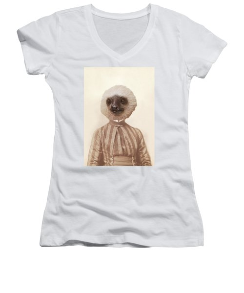 Vintage Sloth Girl Portrait Women's V-Neck T-Shirt (Junior Cut) by Brooke T Ryan