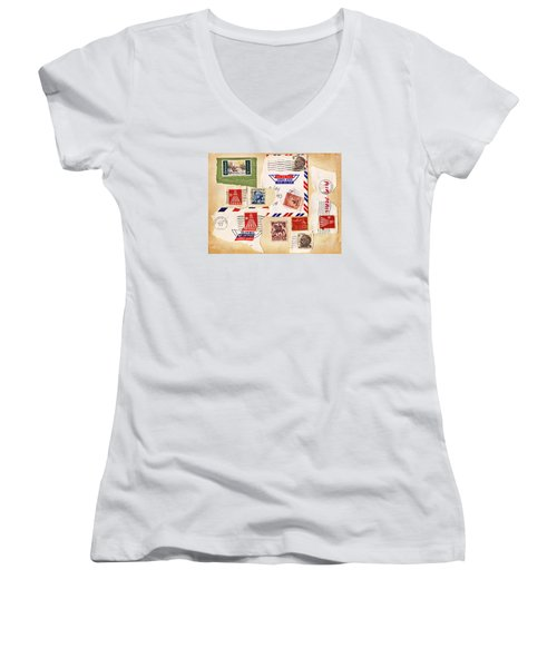 Women's V-Neck T-Shirt (Junior Cut) featuring the photograph Vintage Stamps On Old Postcard by Vizual Studio