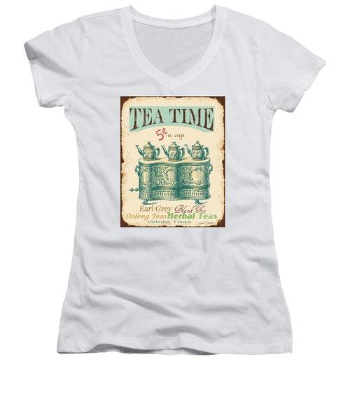 Vintage Tea Time Sign Women's V-Neck T-Shirt (Junior Cut) by Jean Plout