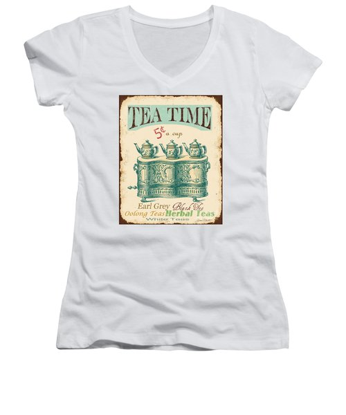 Vintage Tea Time Sign Women's V-Neck T-Shirt