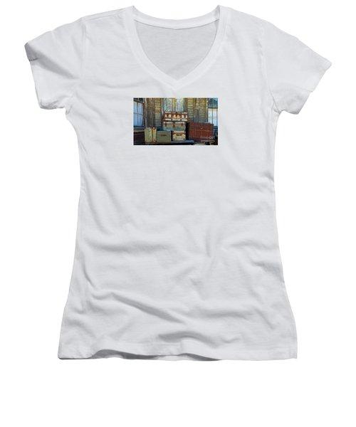 Vintage Trunks   Sold Women's V-Neck T-Shirt (Junior Cut) by Marcia Lee Jones