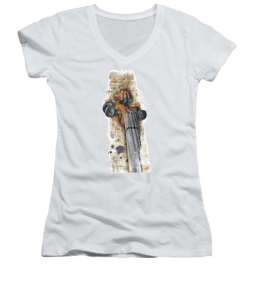 Violin 01 Elena Yakubovich Women's V-Neck T-Shirt (Junior Cut) by Elena Yakubovich