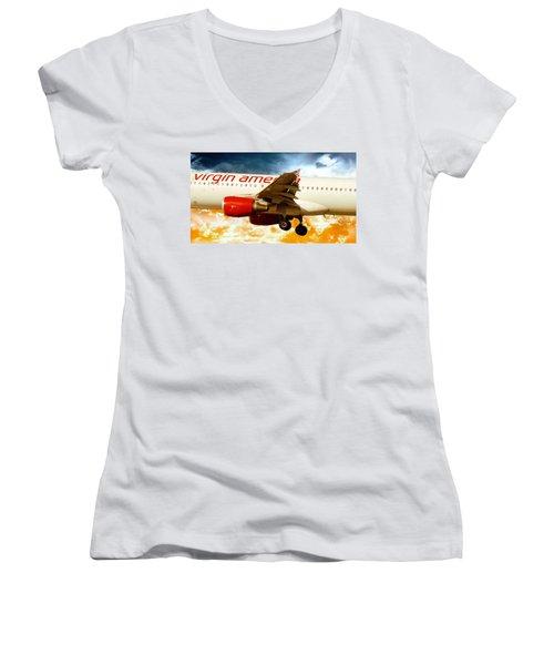 Women's V-Neck T-Shirt (Junior Cut) featuring the photograph Virgin America A320 by Aaron Berg