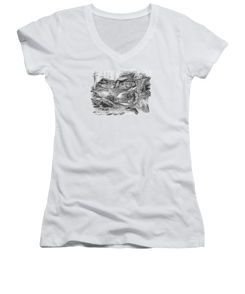 Virginia Kendall Ledges - Cuyahoga Valley National Park Women's V-Neck T-Shirt (Junior Cut) by Kelli Swan