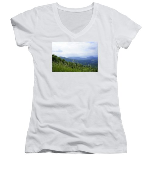 Women's V-Neck T-Shirt (Junior Cut) featuring the photograph Virginia Mountains by Laurie Perry