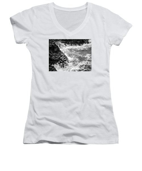 Volcanic Rocks And Water Women's V-Neck (Athletic Fit)