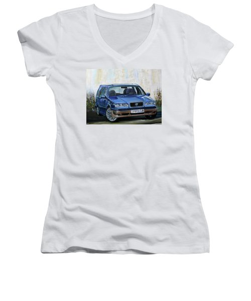Volvo Women's V-Neck T-Shirt (Junior Cut) by Anna Ruzsan